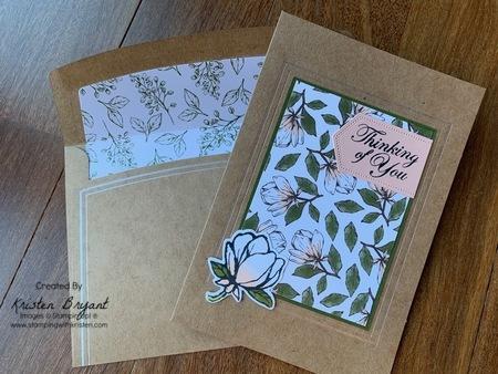 Magnolia Lane Card and envelopes www.stampingwithkristen.com