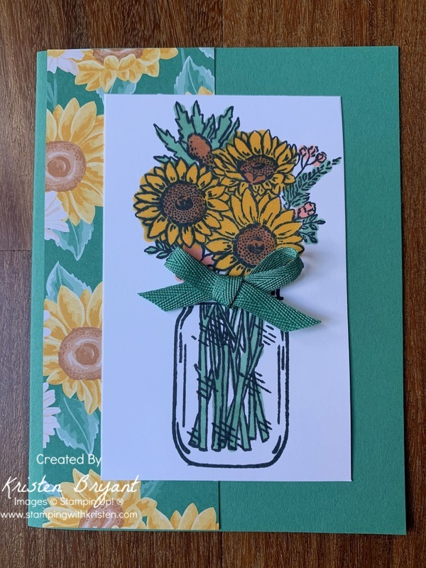 Jar of Flowers Sunflower www.stampingwithkristen.com